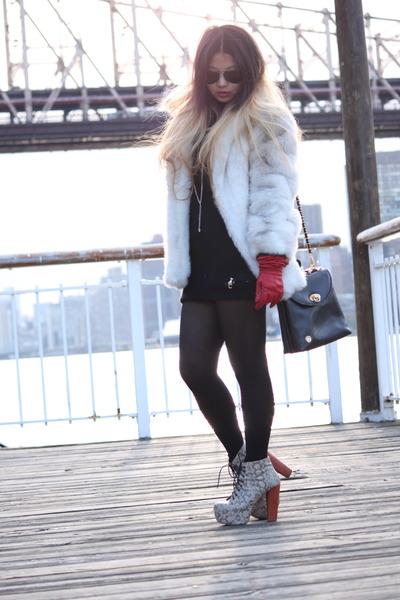 ivory vintage faux fur coat - black thrifted vintage bag