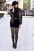 black romwe hat - bulldog romwe jacket - cross romwe blouse