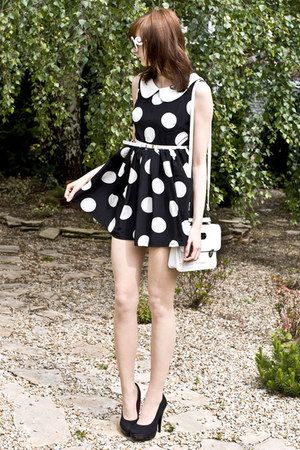 polka dots romwe dress - white romwe sunglasses