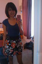 purple thrifted shirt - black skirt