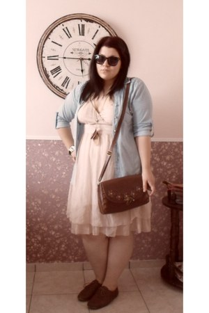 dark brown Thrift Shop bag - peach Emilio Corali dress - light blue H&M shirt