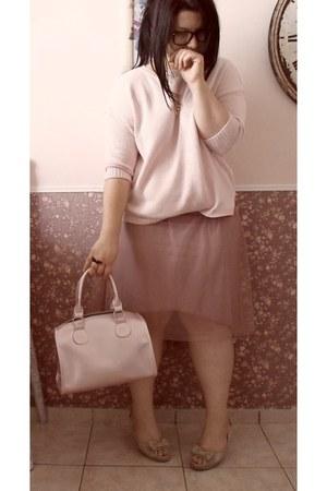 salmon xside skirt - light pink fishbone sweater - light pink Terranova bag