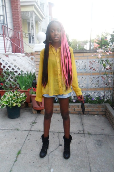 yellow chiffon Forever 21 blouse - black sneaker GoJane boots