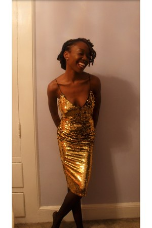 gold sequined GoJane dress