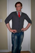 Old Navy shirt - christian dior tie - Old Navy cardigan - H&M pants - le chateau