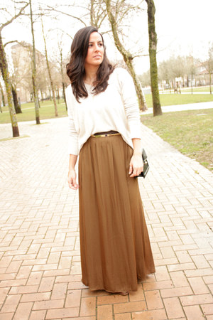 light brown Zara skirt - gold moa bracelet - gold Primark belt