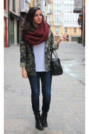army green Zara jacket - brick red moa scarf
