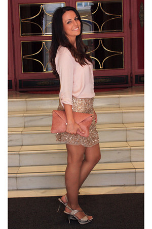 neutral Zara skirt - pink bag - light pink Stradivarius blouse
