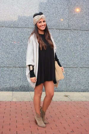 tan Zara boots - black Zara dress - neutral the code bag - tan Zara cardigan
