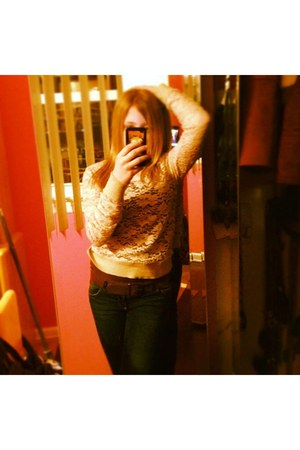navy jeans - eggshell floral lace garage sweater - dark brown tank top shirt