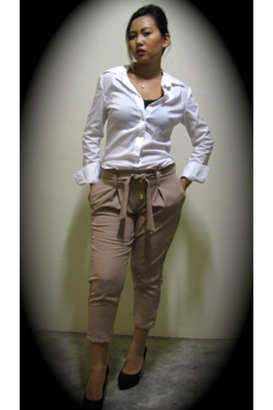 white shirt - Eydithe pants - black new look heels