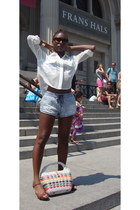 Forever21 shorts - sheer Necessay Clothing blouse - miz mooz heels