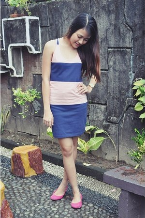 bubble gum stripes dress Penshoppe dress - hot pink ballet flats Solemate flats