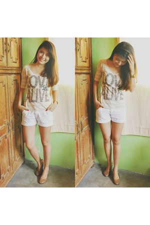 eggshell Penshoppe top - ivory shorts unknown brand shorts