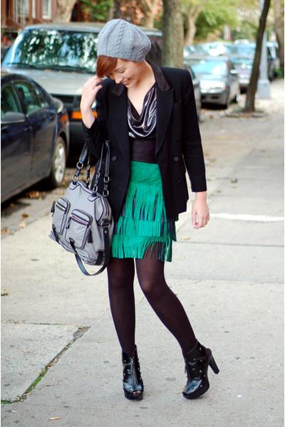 hat - postlapsaria blouse - jacket - Moschino skirt - coach purse - alice  olivi