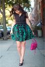 Green-postlapsaria-skirt-black-nine-west-shoes-pink-rebecca-minkoff-bag-bl
