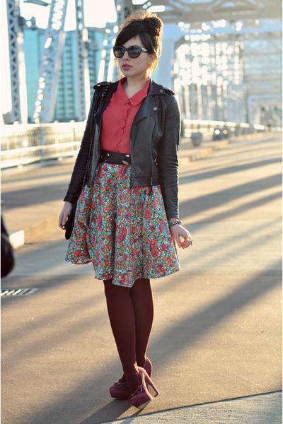 coach jacket - seychelles shoes - Corey Lynn Calter skirt