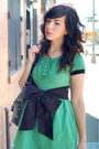 Green-h-m-dress-black-postlapsaria-belt-black-target-shoes