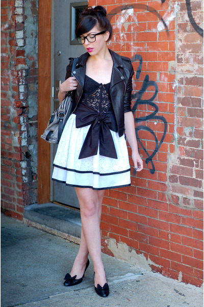 black jacket - white skirt - black shoes