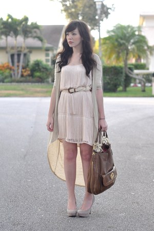 brown coach bag - light pink H&amp;M dress - beige threadsence cardigan