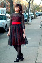 red vintage dress - black Target tights - black Target shoes