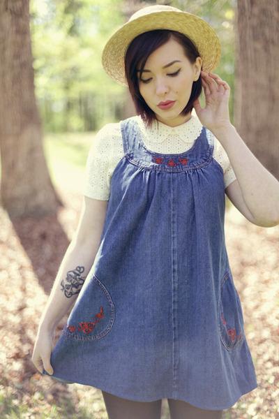 vintage dress - JCrew shirt