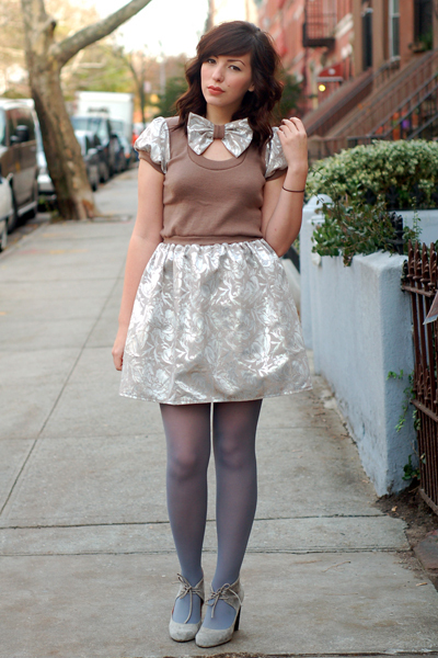 gray H&M tights - gray Jeffrey Campbell shoes - silver postlapsaria dress