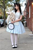 white tights - black Target shoes - blue vintage dress dress