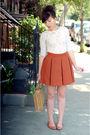 Brown-h-m-skirt-white-top-brown-bc-footwear-shoes