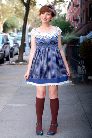 blue modcloth dress - blue calvin klein shoes - brown Sparkle and Fade socks