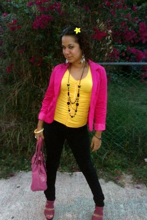 yellow rainbow top - hot pink Marianne blazer - bubble gum JCPenney bag