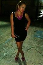 black dress - black bag - hot pink necklace - purple sandals - hot pink earrings