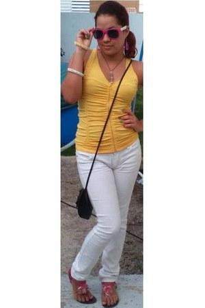 yellow top - black bag - bubble gum sunglasses - bubble gum flats - white pants
