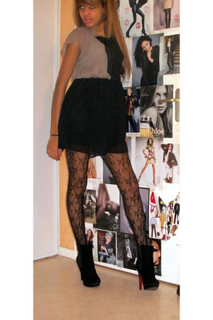 black Christian Louboutin boots - Zara dress