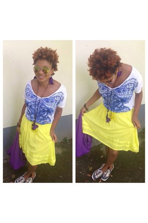 yellow Old Navy skirt - white blouse - amethyst accessories
