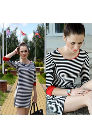 striped dress - black bag - red watch