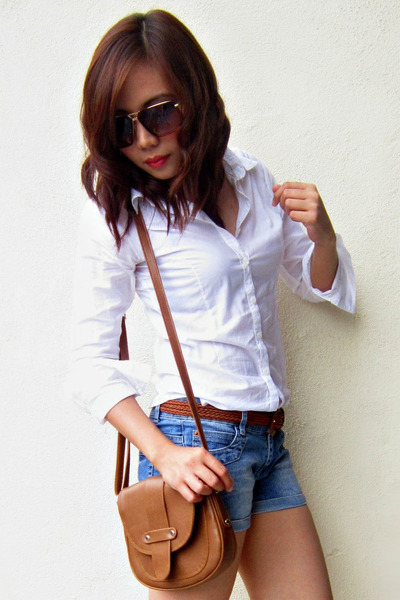 Blue denim shorts white crisp cotton shirts brown woven for Crisp white cotton shirt