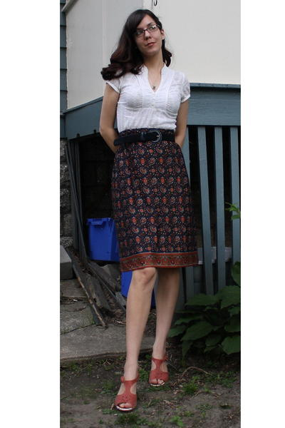 Final Touch shirt - thrifted belt - thrifted skirt - Anthropologie shoes - thrif