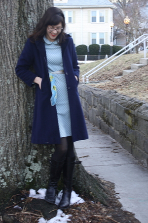 blue thrifted vintage coat - green thrifted vintage dress - blue thrifted vintag