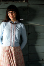 Blue-thrifted-vintage-cardigan-pink-thrifted-vintage-skirt-gray-gift-pearls-