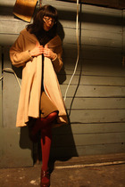 beige vintage coat - brown thrifted vintage dress - red American Apparel tights