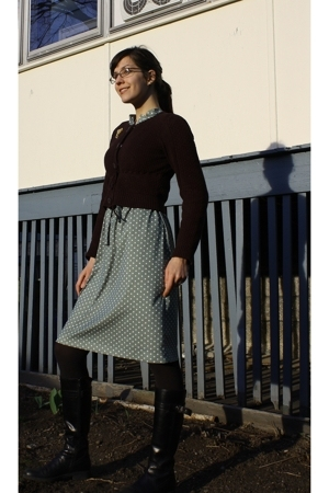 Anthropologie sweater - vintage dress - Stonefly boots - Americal Apparel tights