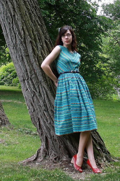 vintage dress - Target shoes - thrifted belt - gift accessories