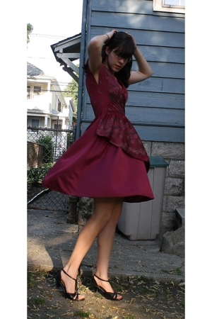 vintage dress - I Love Comfort shoes - thrifted accessories