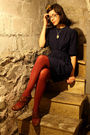 Blue-thrifted-vintage-dress-beige-thrifted-vintage-sweater-red-hue-tights-