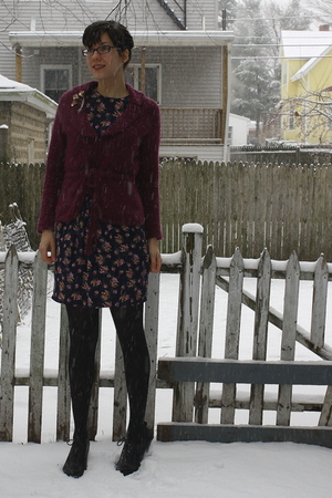 purple thrifted sweater - blue thrifted dress - gold vintage pin accessories - b