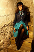 blue thrifted vintage dress - blue levis via consignment store jacket - black H&
