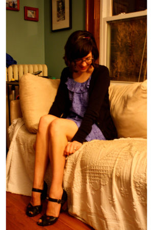 purple thrifted dress - black Clarks shoes - purple gift-handmade accessories
