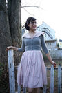 Pink-vintage-dress-gray-thrifted-sweater-brown-borne-shoes-gold-thrifted-v