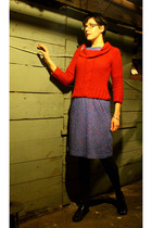 red thrifted sweater - blue thrifted vintage dress - silver thrifted pin accesso